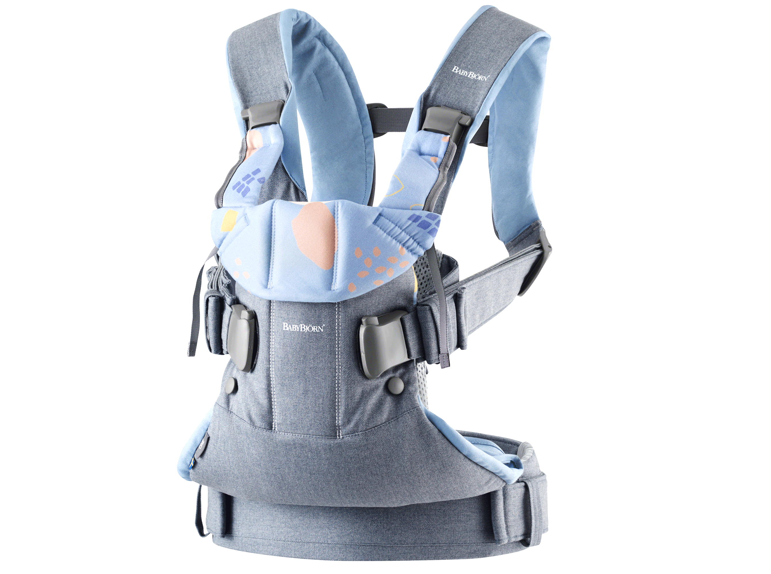 BABYBJÖRN Baby Carrier One, Dove Blue/Confetti, Cotton Mix – Baby Power Collection