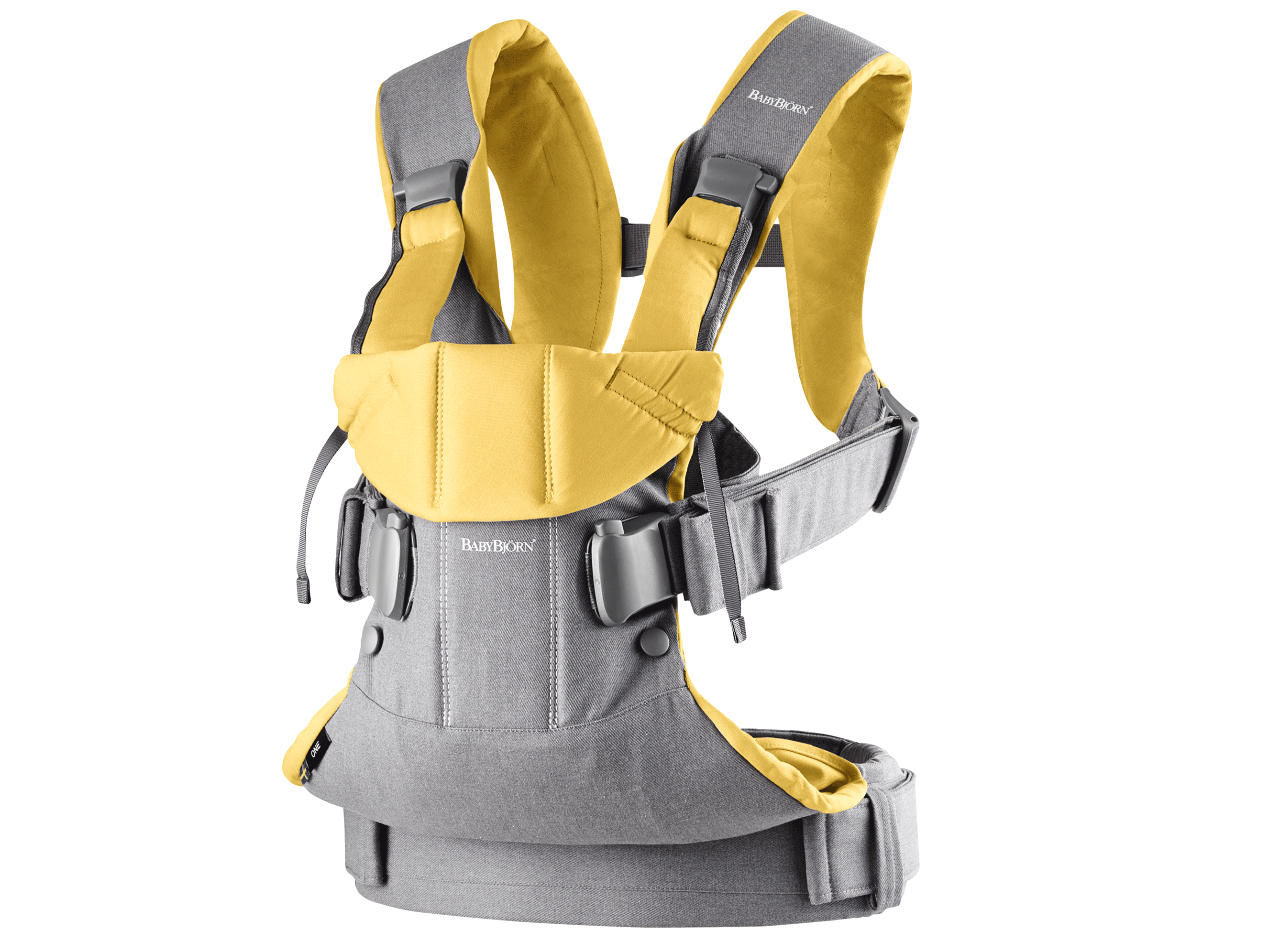 BABYBJÖRN Baby Carrier One, Grey/Yellow, Cotton Mix – Baby Power Collection