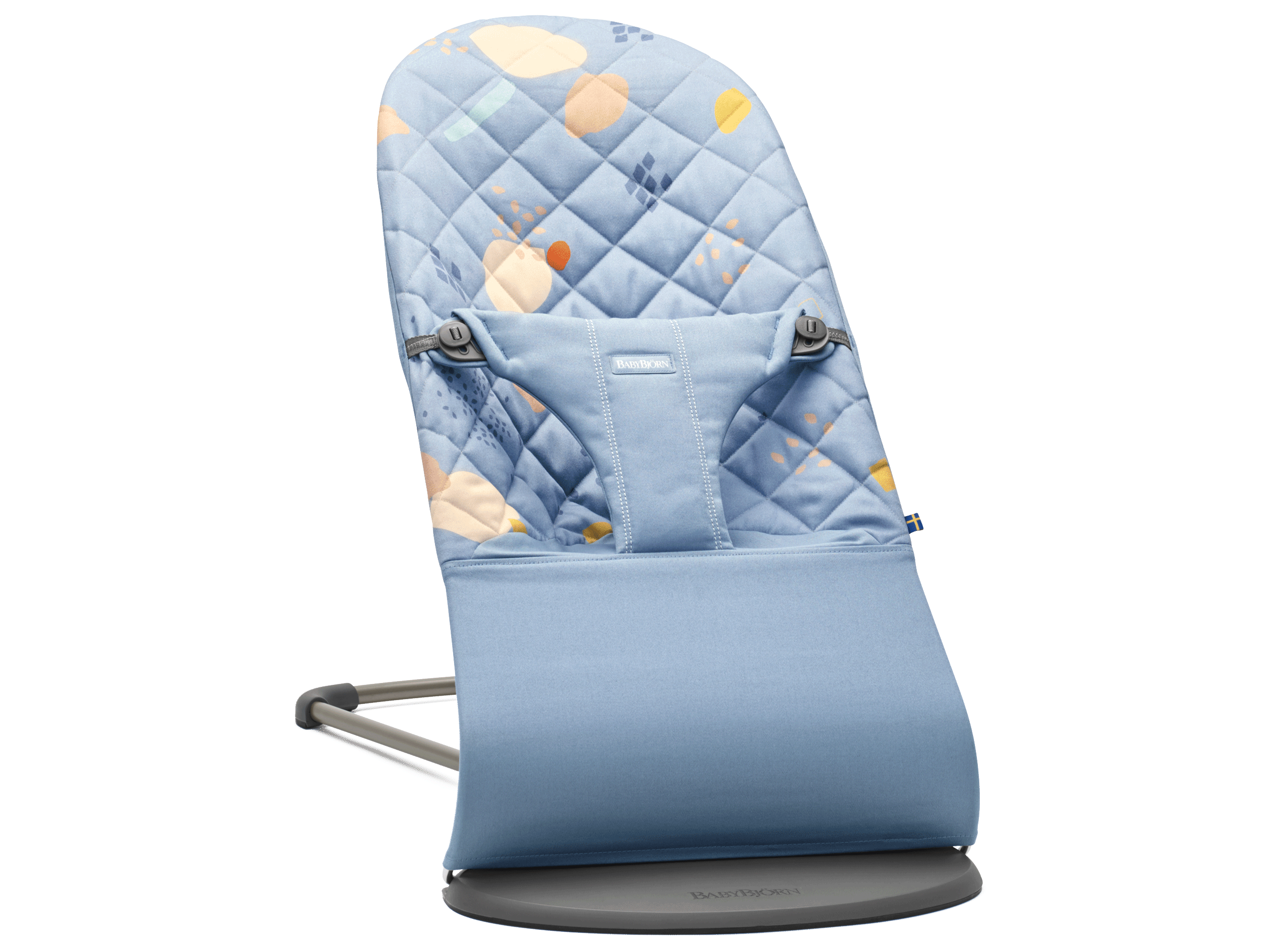 BABYBJÖRN Bouncer Bliss, Confetti/Blue, Cotton – Baby Power Collection