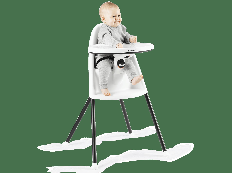 Babybjörn Matstol vit, med litet barn