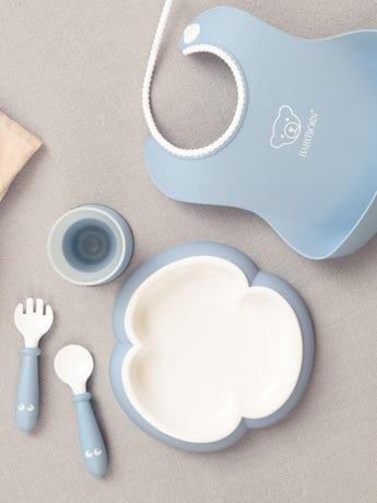 Middagsset för barn i blekblå BPA-fri plast - BABYBJÖRN