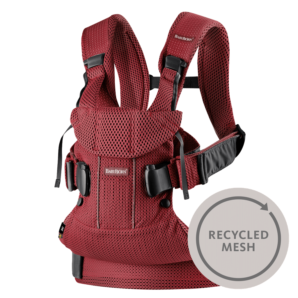 baby carrier one burgundy red-recycled-mesh-098007-babybjorn