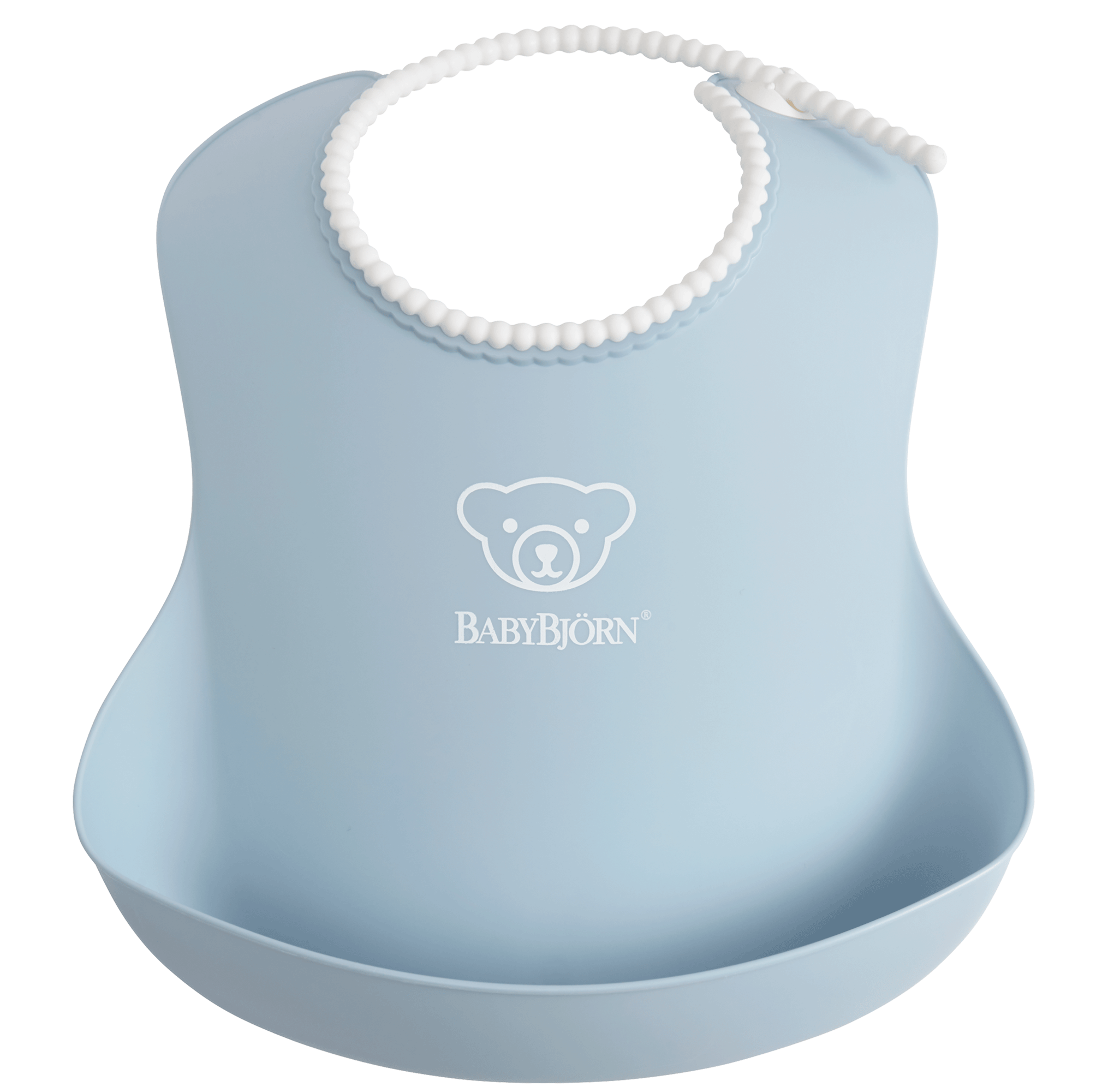 Comfy, waterproof baby bib with deep spill pocket catches any mess, Powder blue - BABYBJÖRN