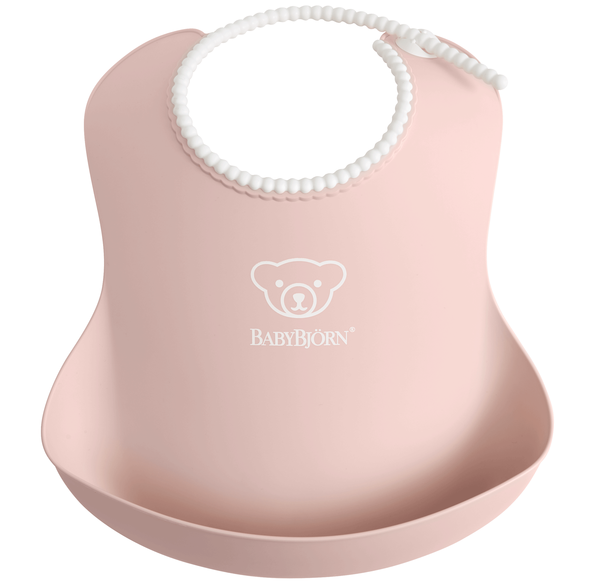 Comfy, waterproof baby bib with deep spill pocket catches any mess, Powder pink - BABYBJÖRN