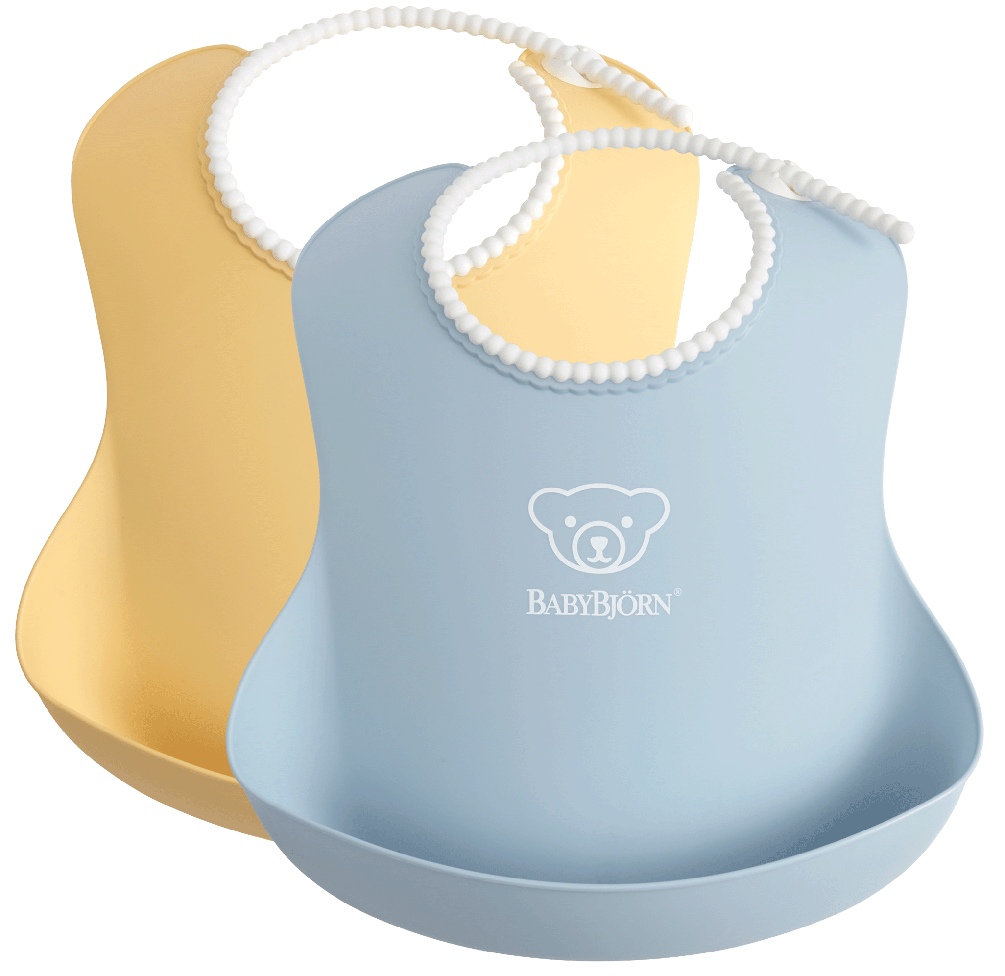 Baby Bib, 2-pack, Powder yellow / Powder blue, with deep spill pocket to catch any mess - BABYBJÖRN