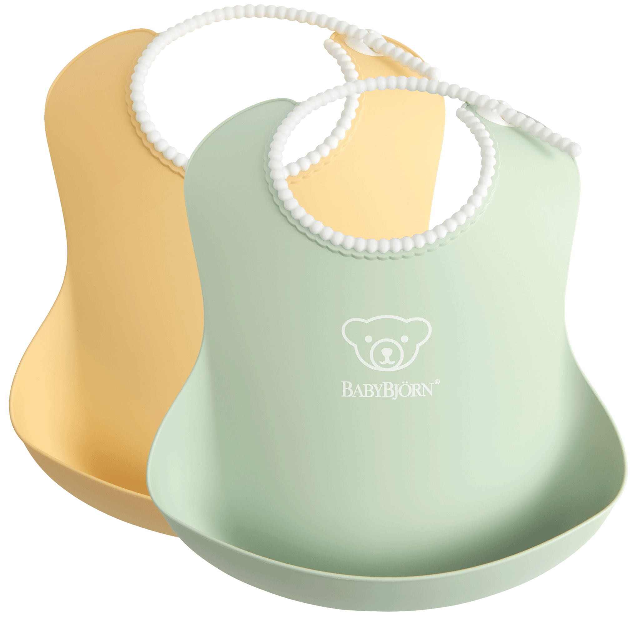baby-bib-2pkt-powder-yellow-green-BABYBJÖRN