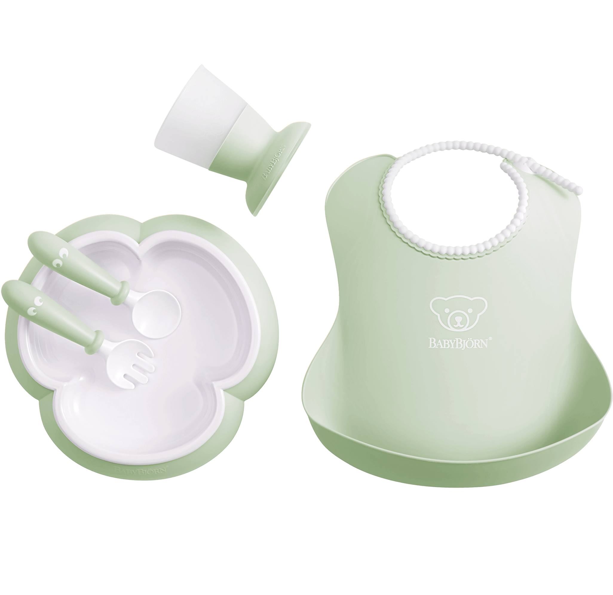 Baby Dinner Set, Powder green, Dinner set with smart design for fun mealtimes - BABYBJÖRN