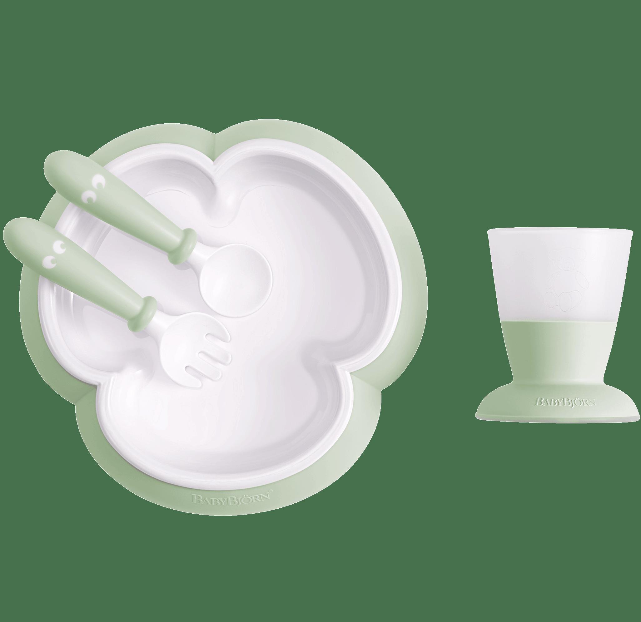 Baby feeding set with smart design makes self-feeding easy, Powder green - BABYBJÖRN