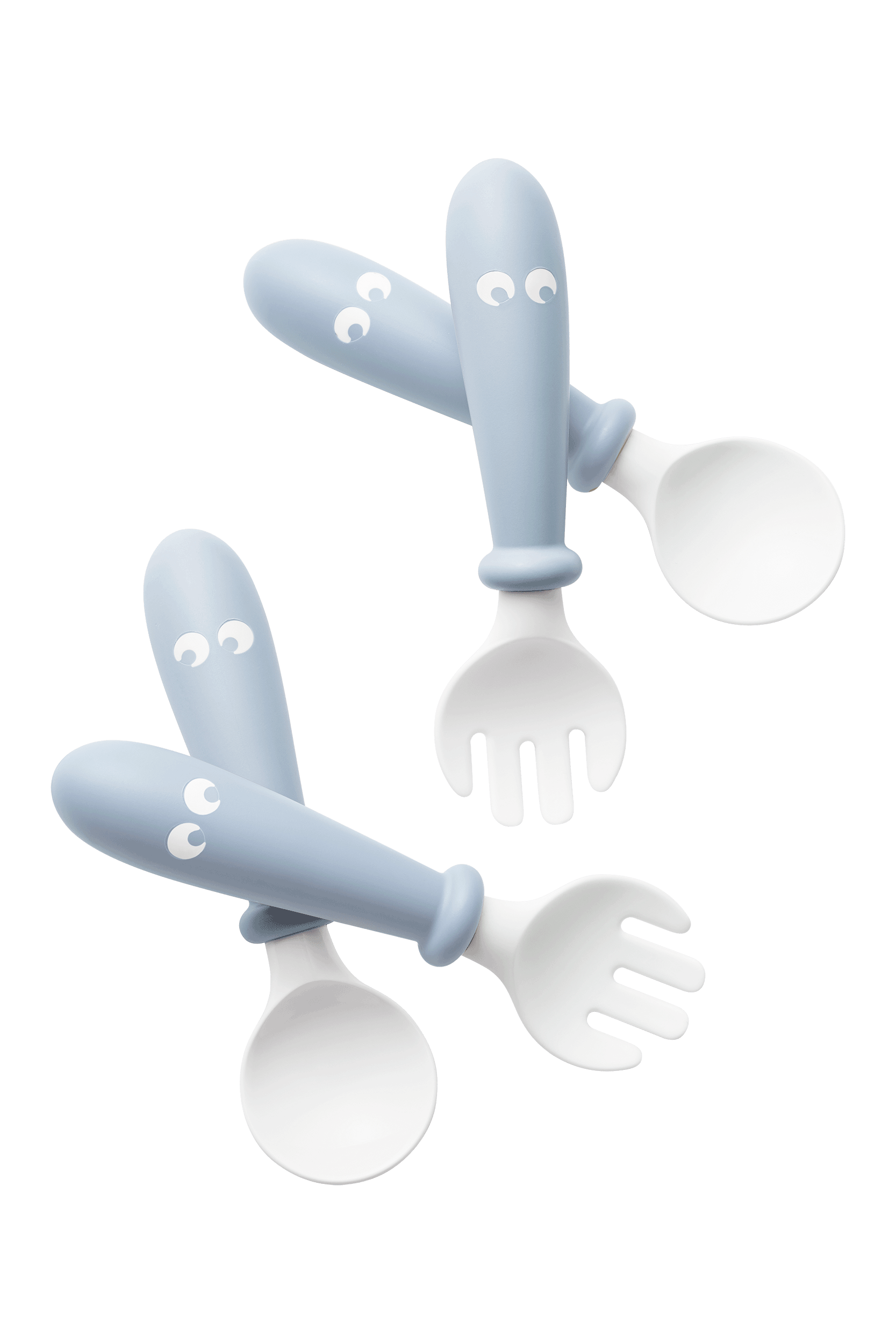 BABYBJÖRN Barnsked och Gaffel, 4 delar - Blekblå
