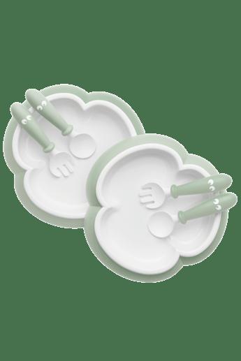 Piatto Cucchiaio e Forchetta Per Bambini 2set Verde Chiaro - BABYBJÖRN