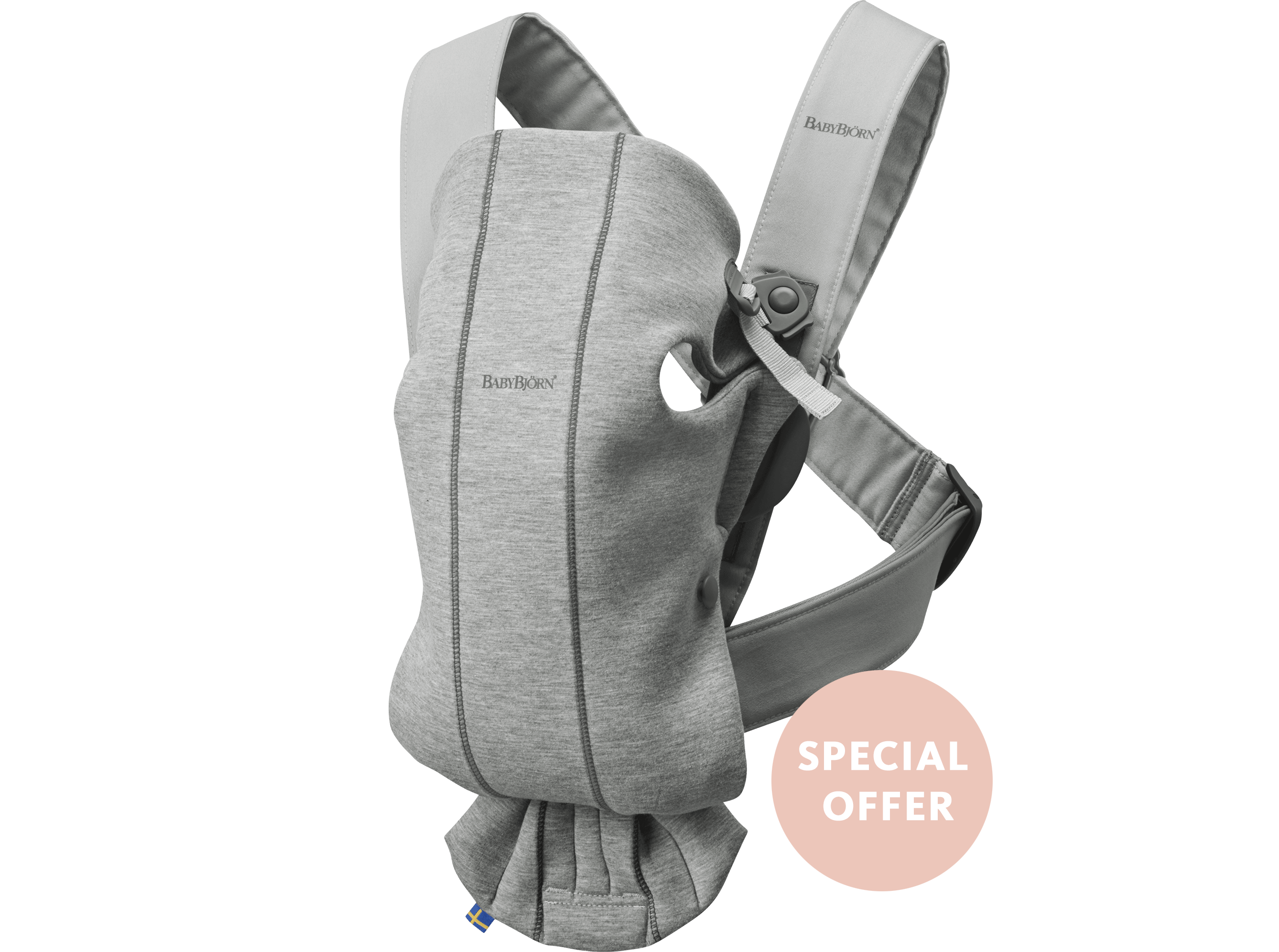 BABYBJÖRN Baby Carrier Mini Light grey 3D Jersey, perfect first baby carrier for a newborn.