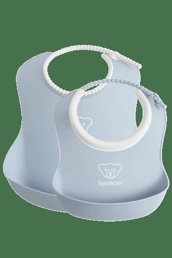 Haklappsset i 2-pack i BPA-friplast, Blekblå - BABYBJÖRN