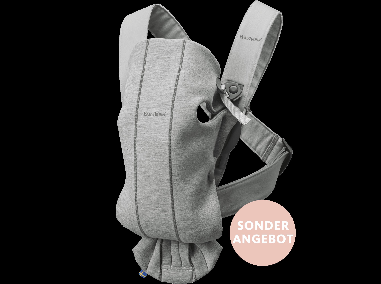 Babytrage Mini Hellgrau 3D Jersey, die perfekte erste Babytrage für Neugeborene - BABYBJÖRN