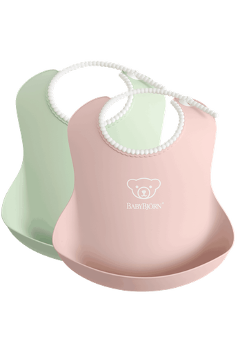 Baby Bib with deep spill pocket, 2-pack, Powder Green and Pink - BABYBJÖRN