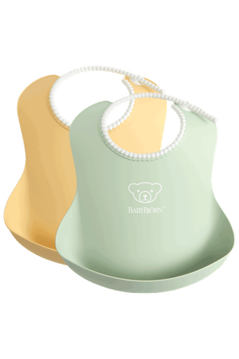 Baby Bib 2-pack in Powder Yellow and Powder Green - BABYBJÖRN