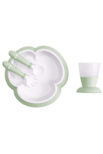 Baby Feeding Set Powder Green in BPA-free plastic - BABYBJÖRN