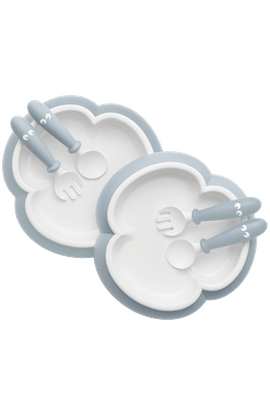 Baby Plate, Spoon and Fork, 2 sets Powder Blue - BABYBJÖRN