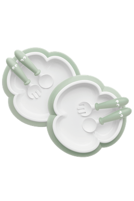 Baby Plate, Spoon and Fork, 2 sets Powder Green - BABYBJÖRN