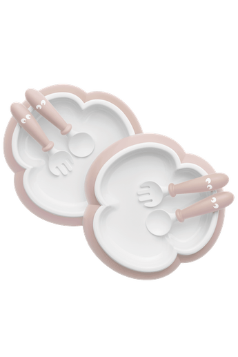Baby Plate, Spoon and Fork, 2 sets Powder Pink - BABYBJÖRN