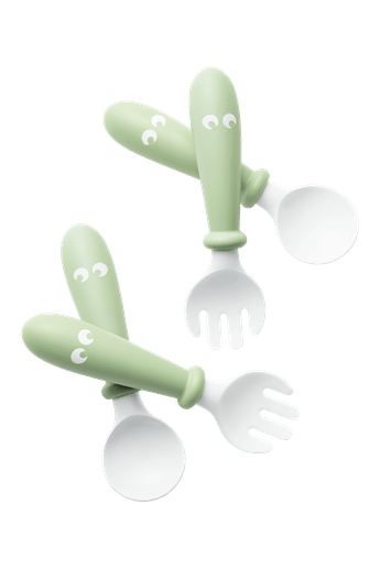 Baby Spoon and Fork, 4 pcs, Powder Green - BABYBJÖRN