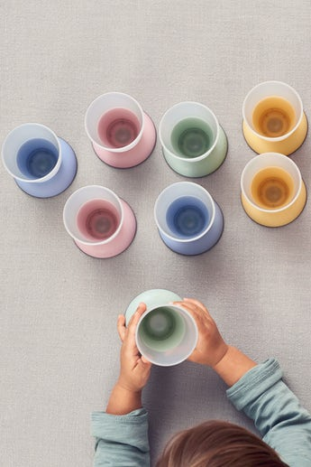 Baby Cup, 2-pack Powder Blue Green Yellow and Pink - BABYBJÖRN