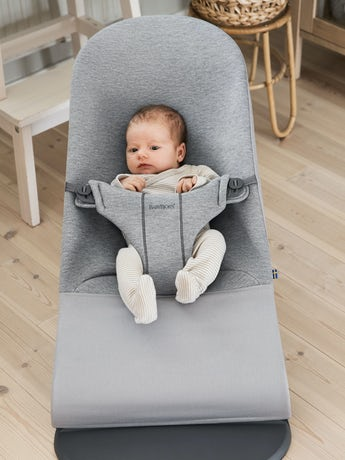 Bouncer Bliss Light Grey in supersoft 3D Jersey - BABYBJÖRN