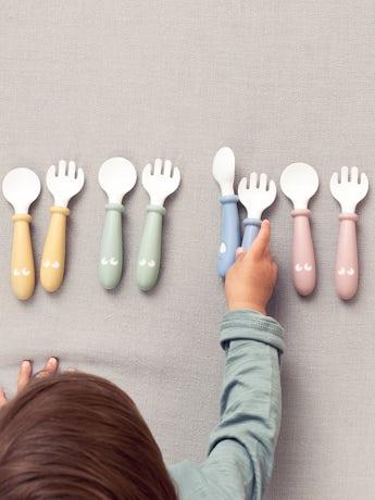 Cuchara y Tenedor para Bebé, 4 piezas Rosa Pastel