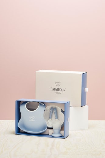 Baby Dinner Set Powder Blue in BPA-free plastic - BABYBJÖRN