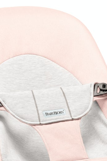 Fabric Seat for Bouncer Balance Soft in Light Pink Grey Cotton Jersey - BABYBJÖRN