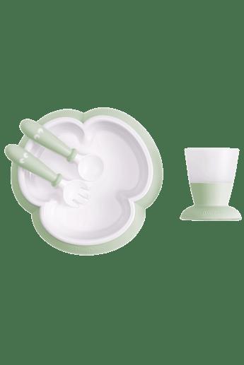 Kindergeschirr 4 Teile Blassgrün mit cleverem Design, das das selbstständige Essen fördert - BABYBJÖRN