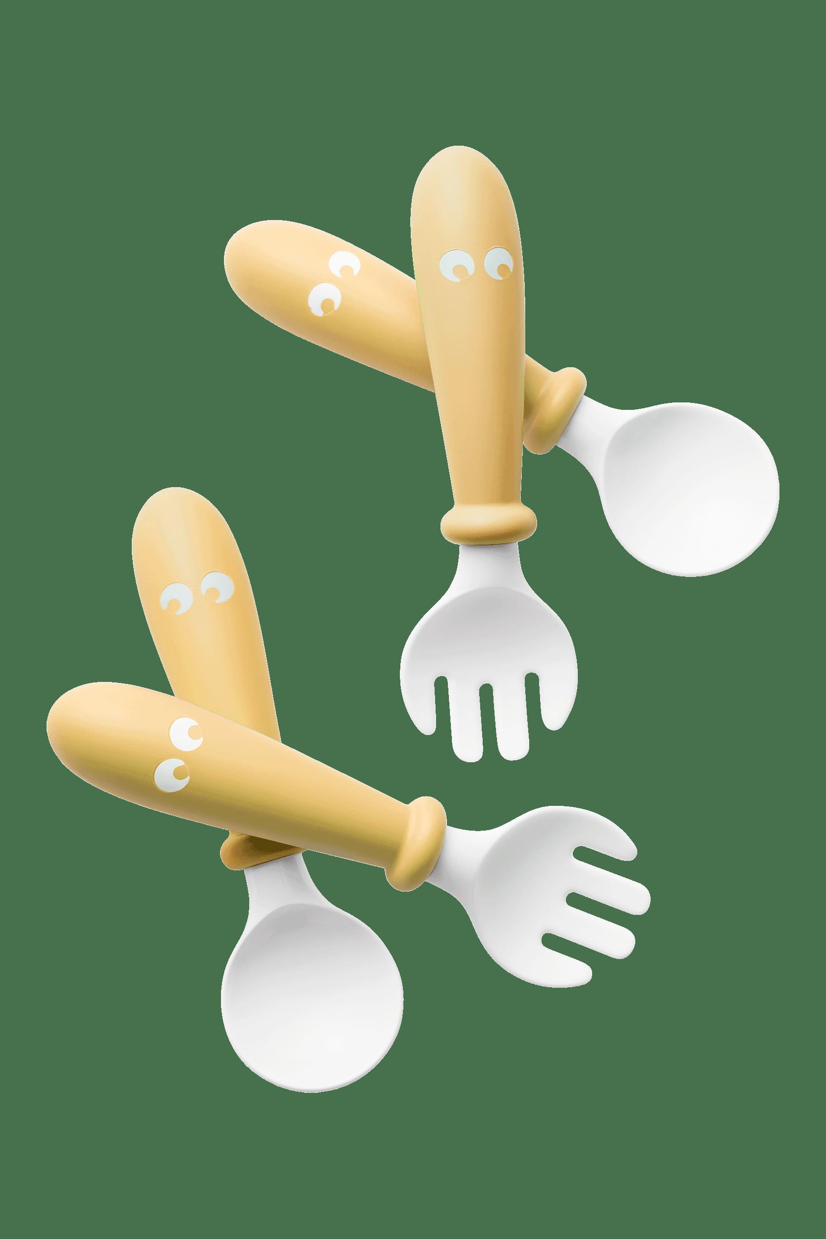 BABYBJÖRN Kinderlöffel und Gabel, 4 Teile Blassgelb