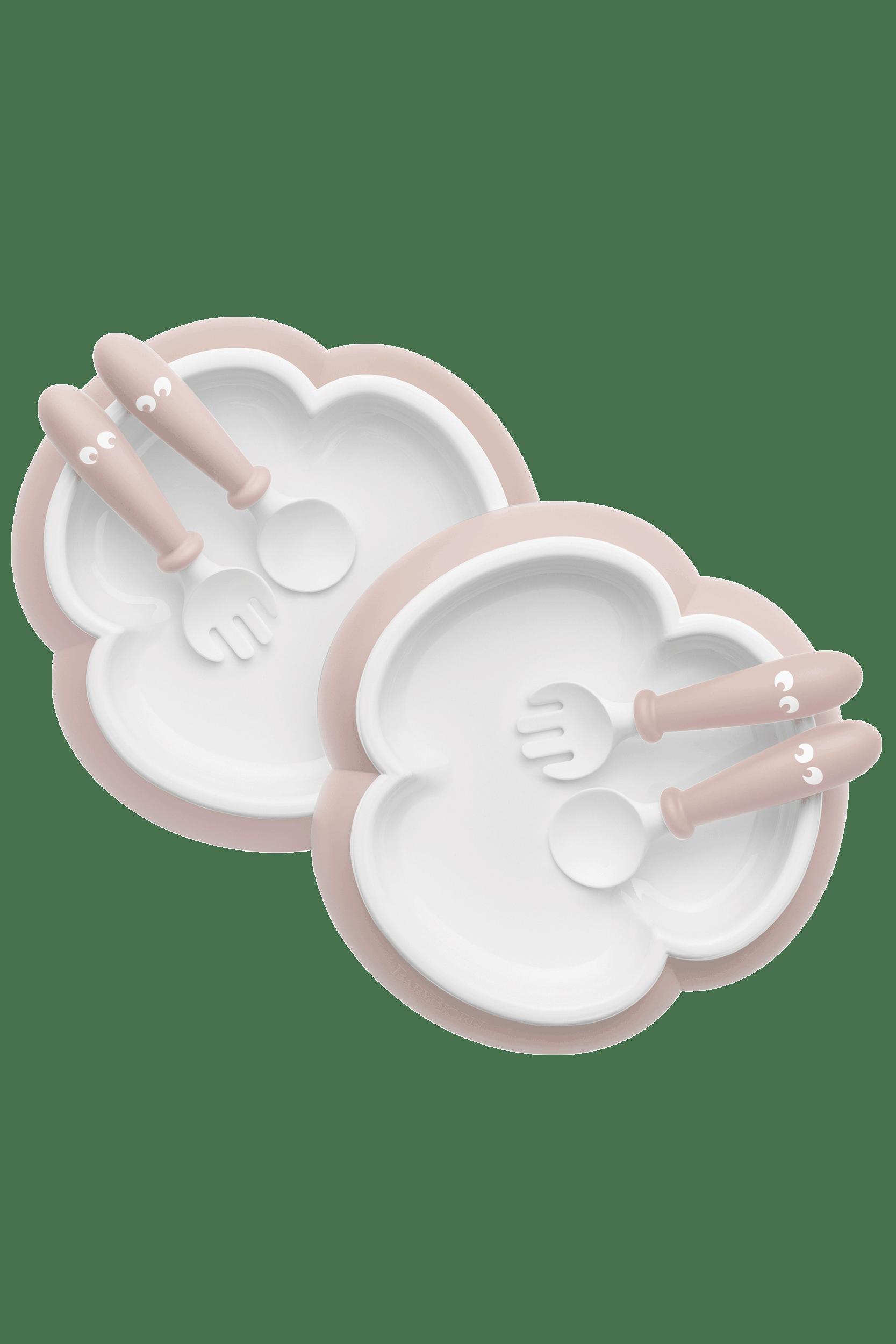 BABYBJÖRN Kinderteller, Löffel und Gabel, 2 Sets Blassrosa