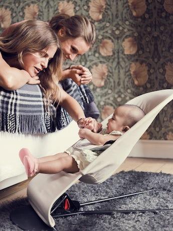 Transat Balance Soft Beige/Gris en Coton Jersey - BABYBJÖRN