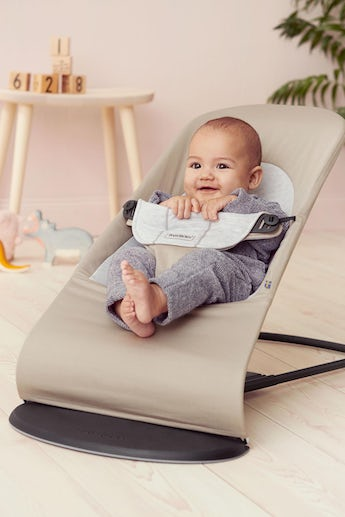 Baby Bouncer Balance Soft Beige Grey Cotton Jersey - BABYBJÖRN