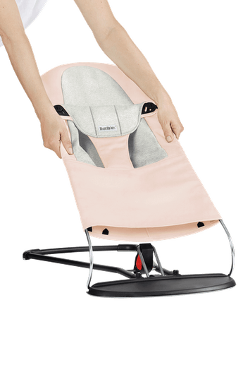 Fabric Seat for Bouncer Balance Soft in Pink and Light Grey Cotton Jersey - BABYBJÖRN