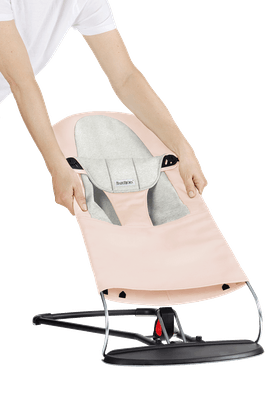 Fabric Seat for Bouncer Balance Soft Pink Light Grey Jersey - BABYBJÖRN
