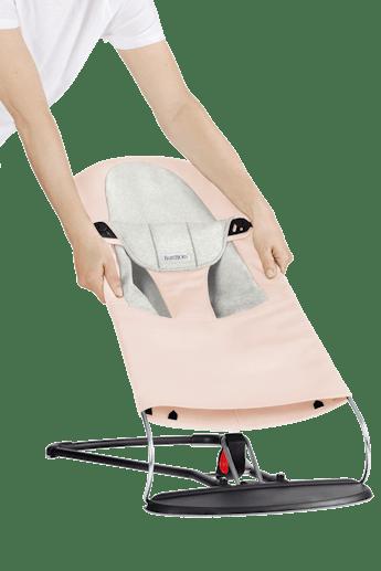 Fabric Seat for Bouncer Balance Soft Pink Light Grey Jersey - BABYBJÖRN