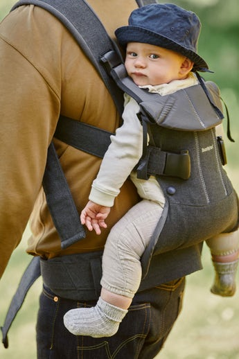 BABYBJÖRN Baby Carrier One in denim grey/dark grey cotton mix, an ergonomic baby carrier perfect for newborn up to 3 years.