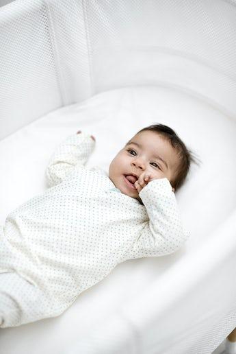 Spannbettuch Babybett Weiss Organic Cotton - BABYBJÖRN