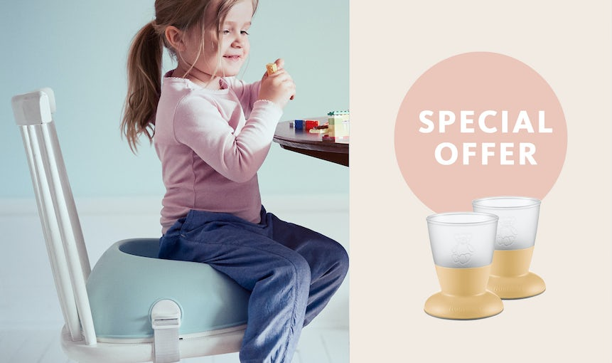 Booster Seat with Powder yellow Baby Cup Special Offer - BABYBJÖRN