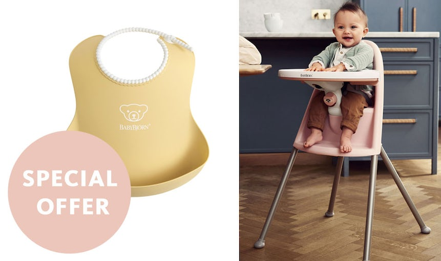 Special Offer - High Chair with Bib in Powder Yellow - BABYBJÖRN
