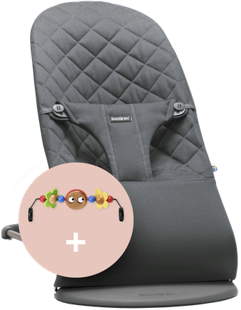 Babysitter Bliss Antracitgrå quiltat Bomull med leksak Busiga Ögon - BABYBJÖRN