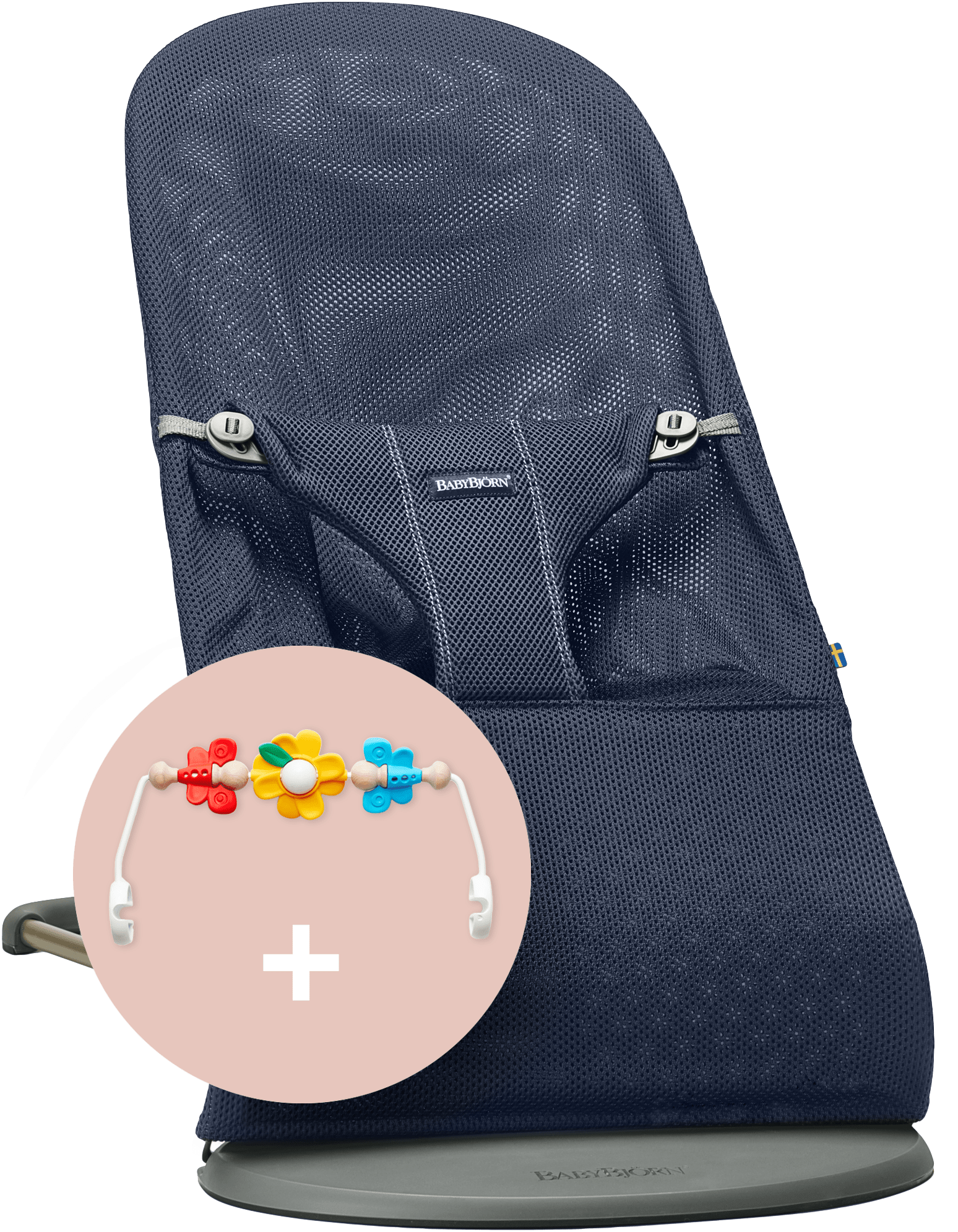 BABYBJÖRN Babywippe und Spielzeug Marineblau Mesh