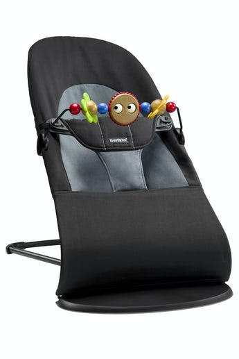 Bouncer Balance Soft Black Darkgrey Cotton with Toy Googly Eyes - BABYBJÖRN