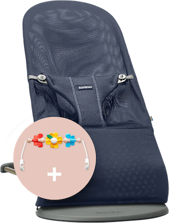 Bouncer Bliss Navy Blue with Toy Flying Friends - BABYBJÖRN