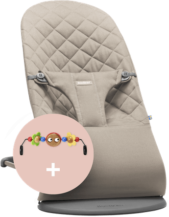 Bouncer Bliss Sand-grey in Cotton with Toy Googly Eyes - BABYBJÖRN