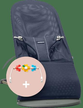 Hamaca Bliss Azul Marino mesh con juguete Amigos Voladores - BABYBJÖRN