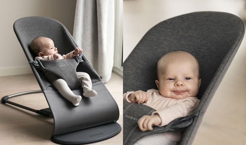 Babywippe Bliss Schwarzgrau 3D Jersey - BABYBJÖRN