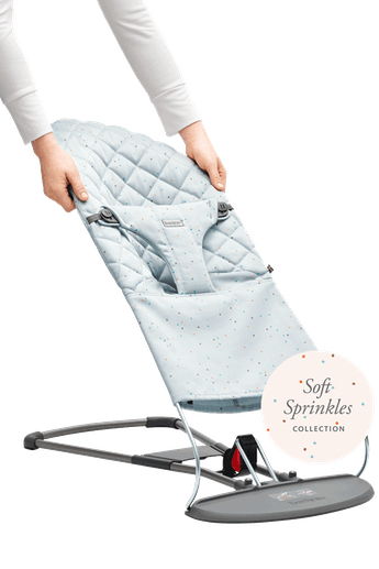 Extra Fabric Seat for Baby Bouncer Blue Sprinkles- Cotton - BABYBJÖRN