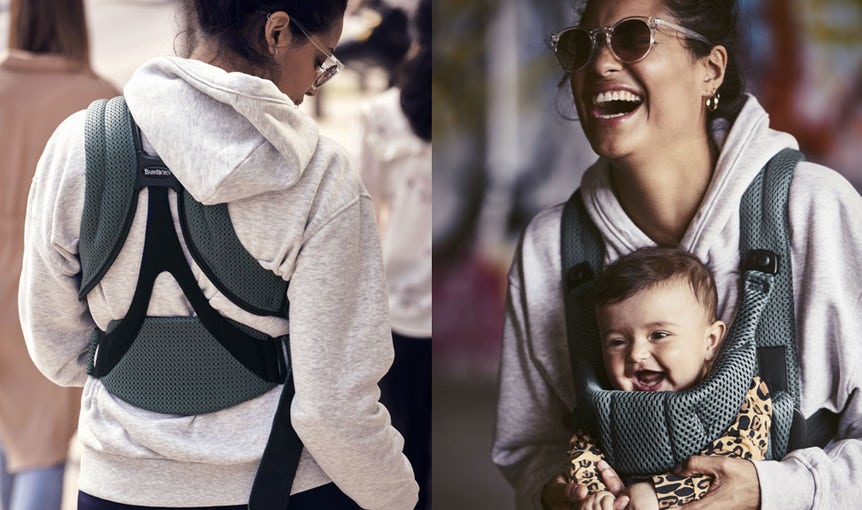 Baby Carrier Move in Sage Green soft and airy 3D Mesh - BABYBJÖRN